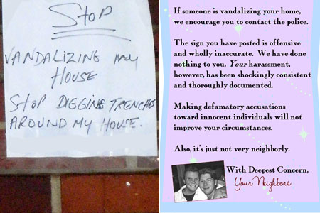 Topher Payne's neighbor puts up sign, Topher responds