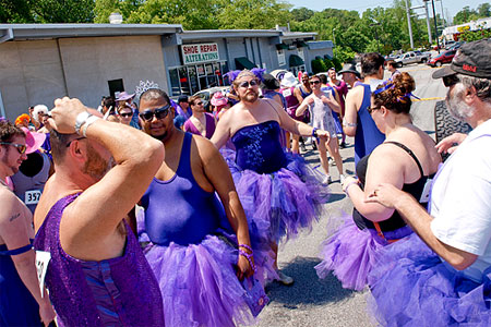 The Atlanta Bucks Rugby hosts the annual 'Purple Dress Run'