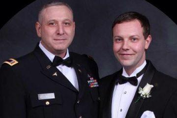 Aaron Austin (right) and his husband, Christopher Dellamura, an Army Ranger, are the first gay married couple to attend Ft. Benning's Annual 4th Ranger Training Battalion Ball. (Courtesy photo)