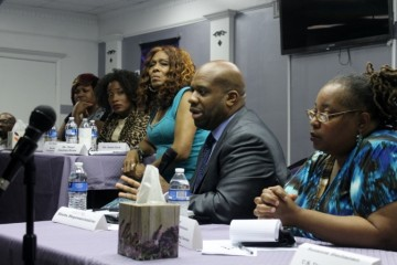 Panelists at the June 4 town hall on the beating of two trans women on a MARTA train. (photo by Patrick Saunders)