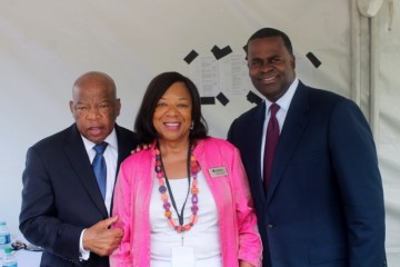 Congressman John Lewis, Center Executive VP Deborah Richardson, Mayor Kasim Reed
