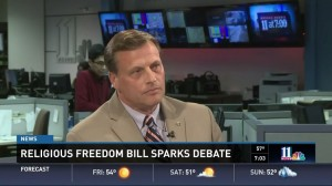 Pastor Mike Griffin from the Georgia Baptist Convention in a debate with Better Georgia's Bryan Long. (screenshot via YouTube)