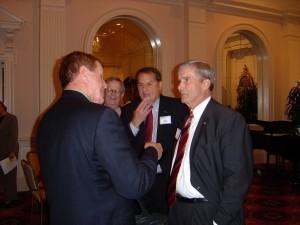 "LGBT activist Floyd Taylor gives Bowers a ""Gross Hypocrisy Award"" at a 2006 Atlanta Bar Association event. (Photo courtesy Don George)"