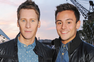LONDON, ENGLAND - APRIL 30:  Dustin Lance Black (L) and Tom Daley attend the Battersea Power Station Annual Party on April 30, 2014 in London, England.  (Photo by David M. Benett/Getty Images for Battersea Power Station)