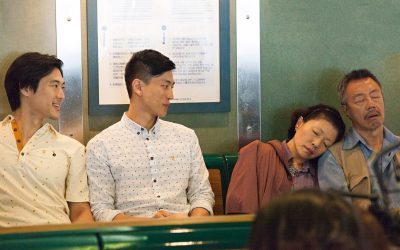 From L to R: Ning (James Chen) and Ryan (Jake Choi) watch sleeping parents, Yen (Elizabeth Sung) and BA (Ming Lee)